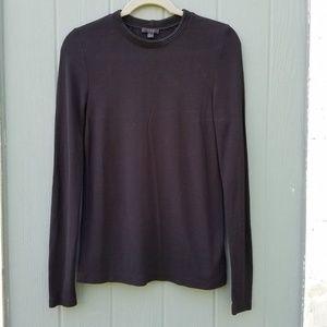 COS Black Ribbed Neckline Long Sleeve Shirt